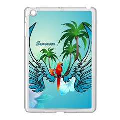 Summer Design With Cute Parrot And Palms Apple Ipad Mini Case (white)