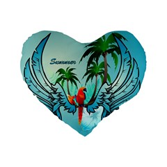 Summer Design With Cute Parrot And Palms Standard 16  Premium Heart Shape Cushions