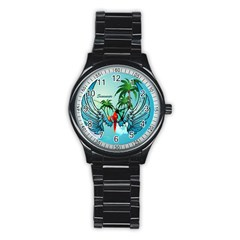 Summer Design With Cute Parrot And Palms Stainless Steel Round Watches