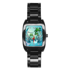 Summer Design With Cute Parrot And Palms Stainless Steel Barrel Watch