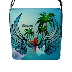 Summer Design With Cute Parrot And Palms Flap Messenger Bag (l)