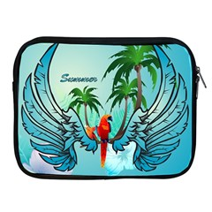 Summer Design With Cute Parrot And Palms Apple Ipad 2/3/4 Zipper Cases