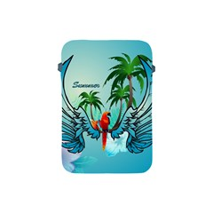 Summer Design With Cute Parrot And Palms Apple Ipad Mini Protective Soft Cases