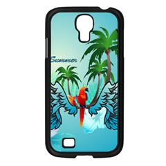 Summer Design With Cute Parrot And Palms Samsung Galaxy S4 I9500/ I9505 Case (black)