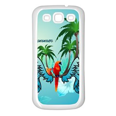 Summer Design With Cute Parrot And Palms Samsung Galaxy S3 Back Case (white)