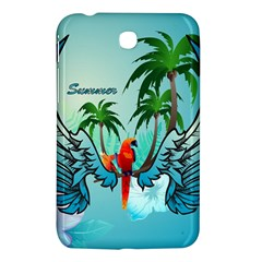 Summer Design With Cute Parrot And Palms Samsung Galaxy Tab 3 (7 ) P3200 Hardshell Case  by FantasyWorld7