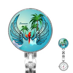 Summer Design With Cute Parrot And Palms Stainless Steel Nurses Watches