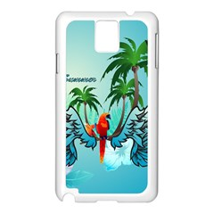 Summer Design With Cute Parrot And Palms Samsung Galaxy Note 3 N9005 Case (white)