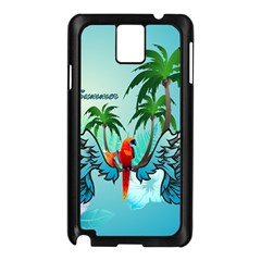 Summer Design With Cute Parrot And Palms Samsung Galaxy Note 3 N9005 Case (black)