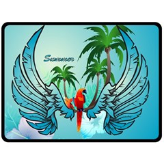 Summer Design With Cute Parrot And Palms Double Sided Fleece Blanket (large)