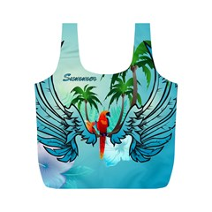 Summer Design With Cute Parrot And Palms Full Print Recycle Bags (m)