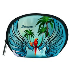 Summer Design With Cute Parrot And Palms Accessory Pouches (medium)