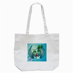 Summer Design With Cute Parrot And Palms Tote Bag (white)