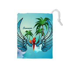 Summer Design With Cute Parrot And Palms Drawstring Pouches (medium)