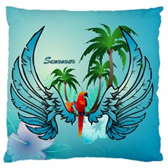 Summer Design With Cute Parrot And Palms Large Flano Cushion Cases (two Sides)