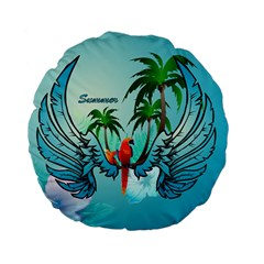 Summer Design With Cute Parrot And Palms Standard 15  Premium Flano Round Cushions