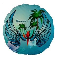 Summer Design With Cute Parrot And Palms Large 18  Premium Flano Round Cushions