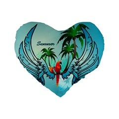 Summer Design With Cute Parrot And Palms Standard 16  Premium Flano Heart Shape Cushions