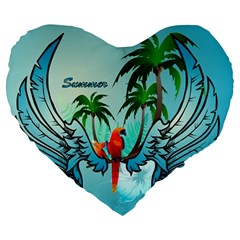 Summer Design With Cute Parrot And Palms Large 19  Premium Flano Heart Shape Cushions