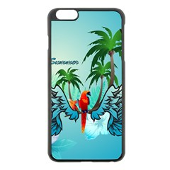 Summer Design With Cute Parrot And Palms Apple Iphone 6 Plus/6s Plus Black Enamel Case