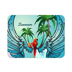 Summer Design With Cute Parrot And Palms Double Sided Flano Blanket (mini)