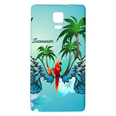 Summer Design With Cute Parrot And Palms Galaxy Note 4 Back Case