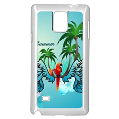 Summer Design With Cute Parrot And Palms Samsung Galaxy Note 4 Case (white)