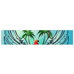Summer Design With Cute Parrot And Palms Flano Scarf (small)