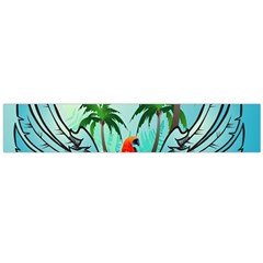 Summer Design With Cute Parrot And Palms Flano Scarf (large)