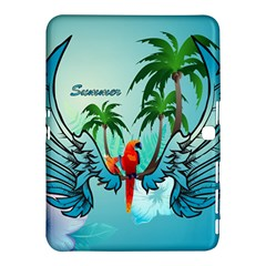 Summer Design With Cute Parrot And Palms Samsung Galaxy Tab 4 (10 1 ) Hardshell Case