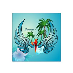 Summer Design With Cute Parrot And Palms Satin Bandana Scarf