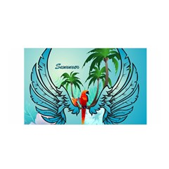Summer Design With Cute Parrot And Palms Satin Wrap