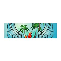Summer Design With Cute Parrot And Palms Satin Scarf (oblong)