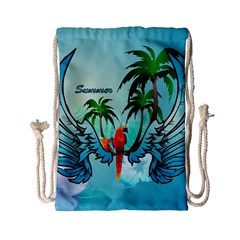 Summer Design With Cute Parrot And Palms Drawstring Bag (small) by FantasyWorld7