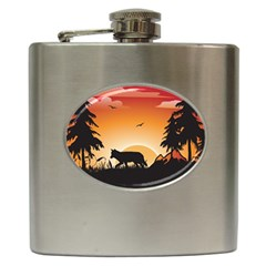 The Lonely Wolf In The Sunset Hip Flask (6 Oz)