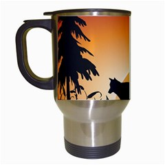 The Lonely Wolf In The Sunset Travel Mugs (white) by FantasyWorld7