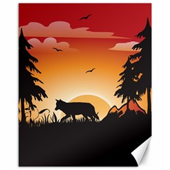 The Lonely Wolf In The Sunset Canvas 11  X 14   by FantasyWorld7