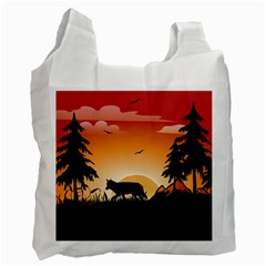The Lonely Wolf In The Sunset Recycle Bag (one Side) by FantasyWorld7