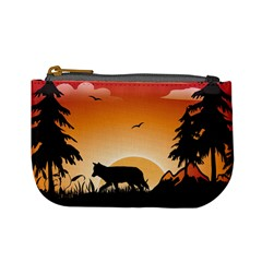The Lonely Wolf In The Sunset Mini Coin Purses