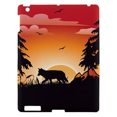 The Lonely Wolf In The Sunset Apple Ipad 3/4 Hardshell Case by FantasyWorld7