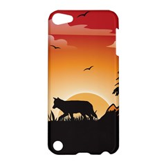 The Lonely Wolf In The Sunset Apple Ipod Touch 5 Hardshell Case by FantasyWorld7