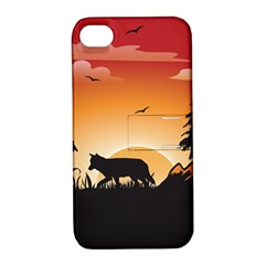 The Lonely Wolf In The Sunset Apple Iphone 4/4s Hardshell Case With Stand by FantasyWorld7