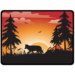 The Lonely Wolf In The Sunset Double Sided Fleece Blanket (large)  by FantasyWorld7