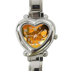 Awesome Sunset Over The Ocean With Ship Heart Italian Charm Watch by FantasyWorld7