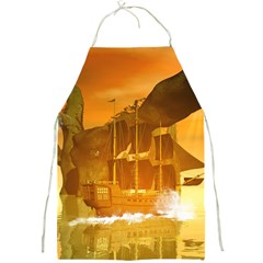 Awesome Sunset Over The Ocean With Ship Full Print Aprons by FantasyWorld7