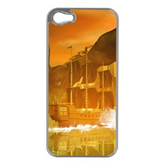 Awesome Sunset Over The Ocean With Ship Apple Iphone 5 Case (silver) by FantasyWorld7