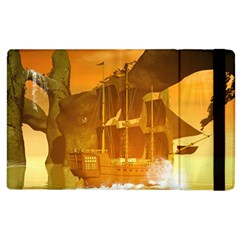 Awesome Sunset Over The Ocean With Ship Apple Ipad 3/4 Flip Case by FantasyWorld7