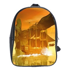 Awesome Sunset Over The Ocean With Ship School Bags (xl)  by FantasyWorld7