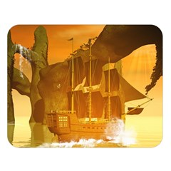 Awesome Sunset Over The Ocean With Ship Double Sided Flano Blanket (large)