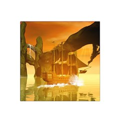 Awesome Sunset Over The Ocean With Ship Satin Bandana Scarf